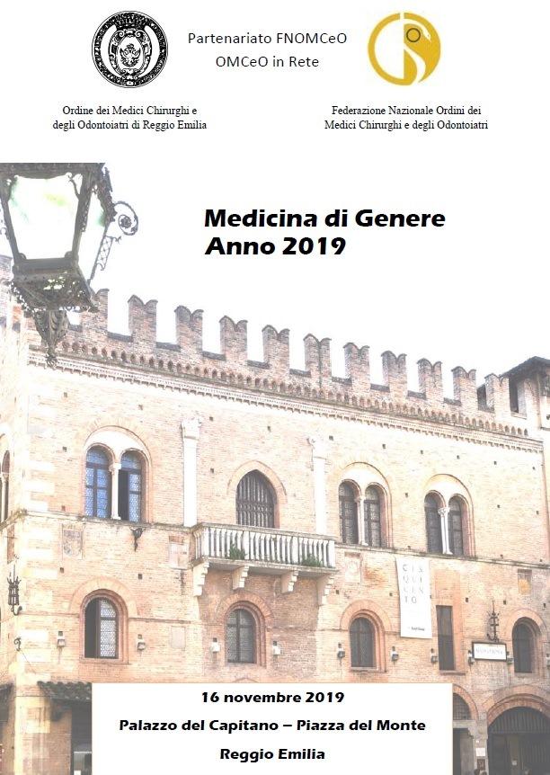 """Evento """"Medicina di Genere Anno 2019"""" – Reggio Emilia, 16/11/2019"""