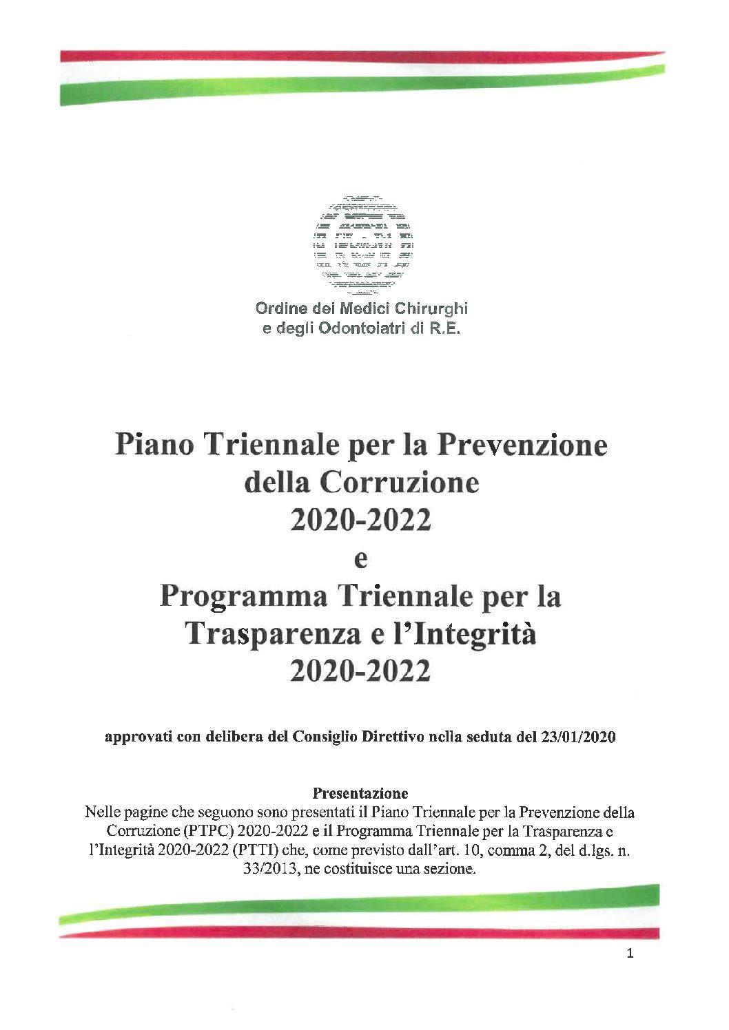 Pubblicazione del Piano Triennale per la Prevenzione della Corruzione e del Programma Triennale per la Trasparenza e l'Integrità 2020/2022