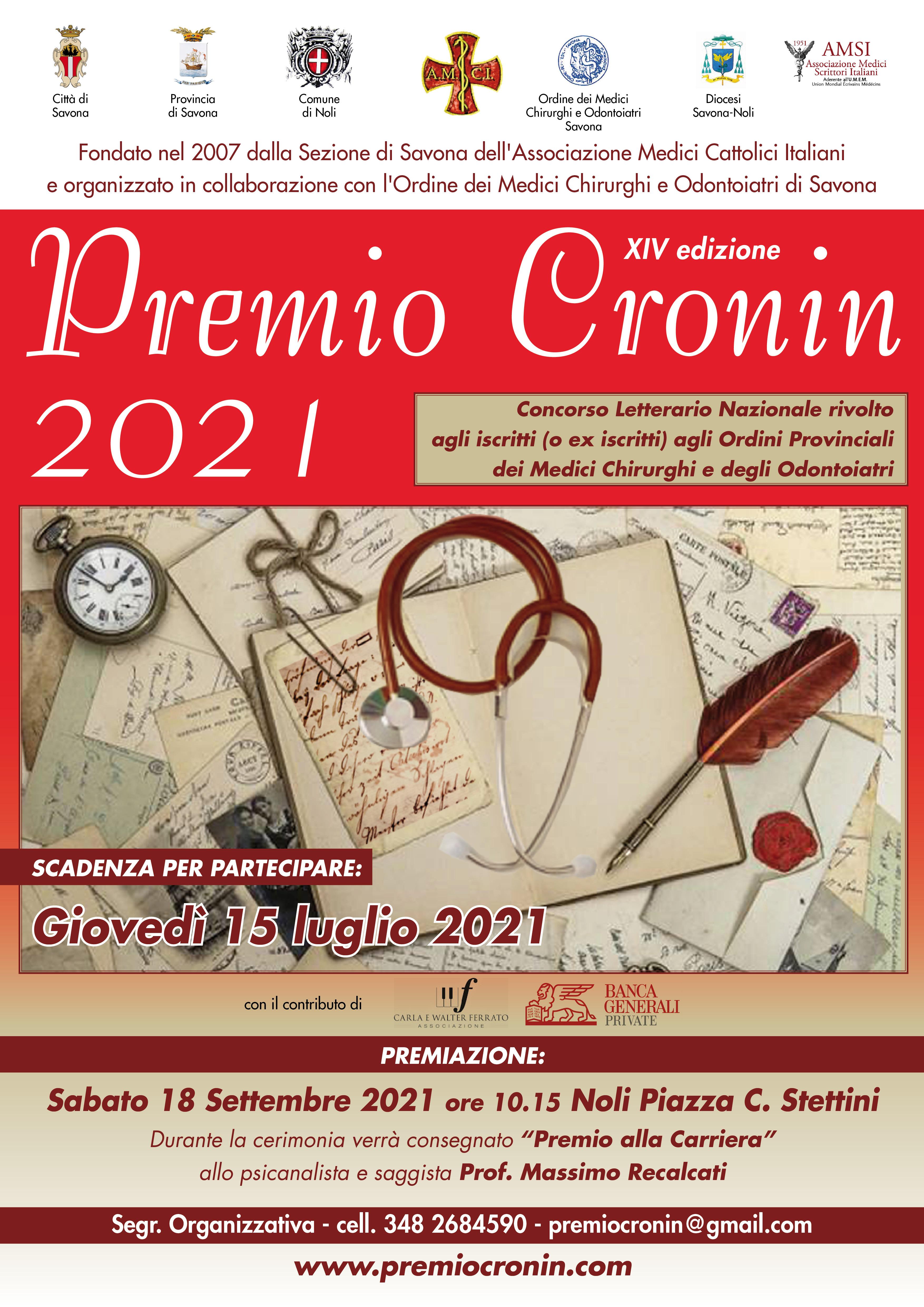 Premio letterario Cronin 2021 – scadenza 15/07/2021