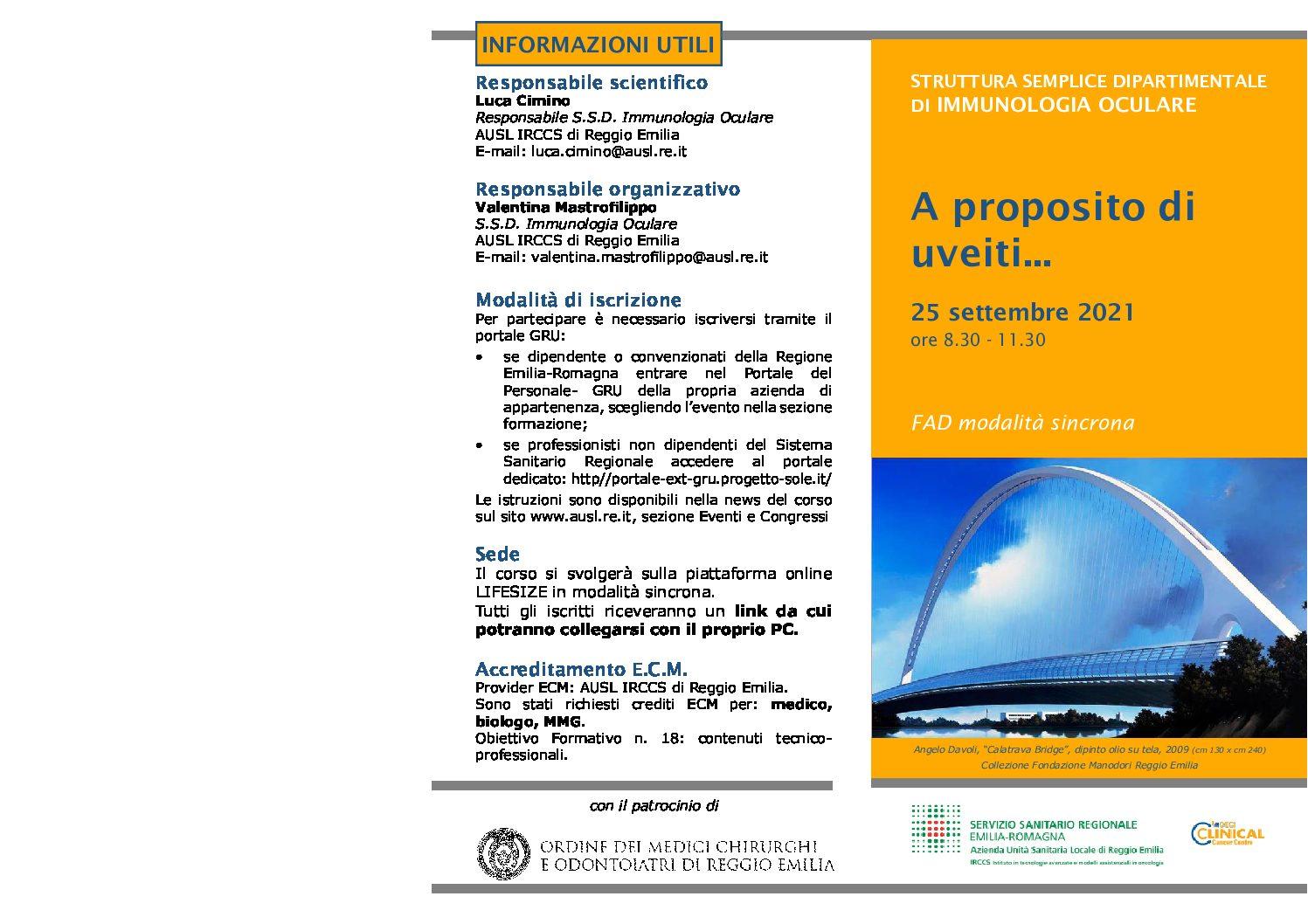 """Corso FAD """"A proposito di uveiti…"""" 25/09/2021"""